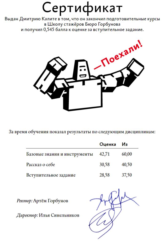 Сертификат подготовительного курса вШколе стажёров Бюро Горбунова